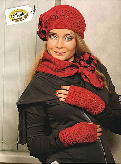 Beret Scarf And Gloves Without Fingers Senpolia Handmade
