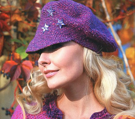 purple striped hat with stars