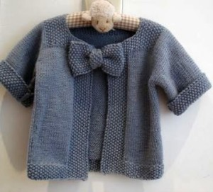 jacket with knitted bow