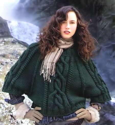 Knitting poncho sweater