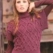 Claret vest knitted with Aran pattern