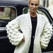 Thick jacket with puffed sleeves