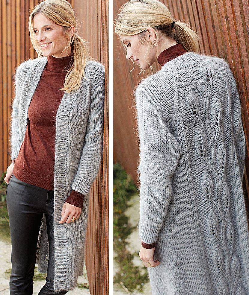 Cardigan cu model frunze