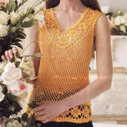 Yellow crocheted blouse