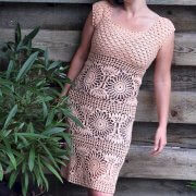Crocheted dress with circular motifs