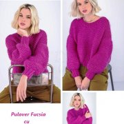 Sweater is Red with puffed sleeves
