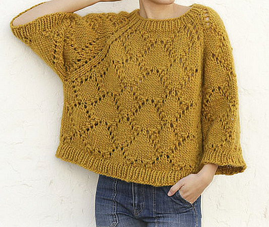 Large sweater knitted from a thick yarn