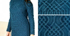 Knitted dress with Aran pattern